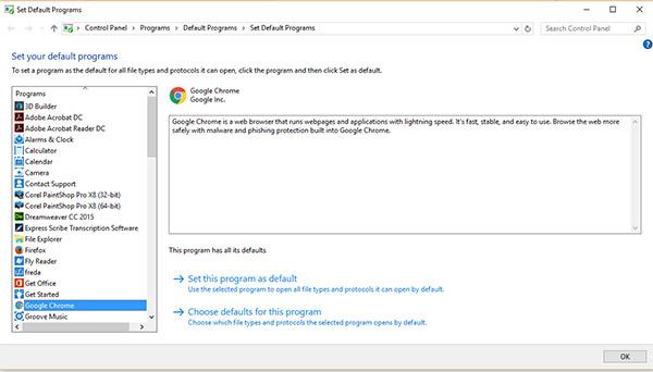 Choose Default Programs window showing Google Crhome options