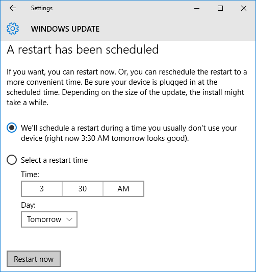This is where you change the time of a computer restart for a pending update.